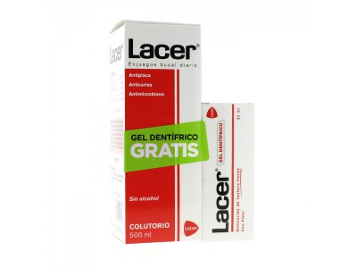 Lacer Colutorio Sin Alcohol 500ml + Gel Dentífrico Anticaries 35ml