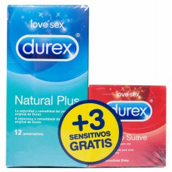 Durex preservativos natural plus 12 unidades + 3 sensitivos