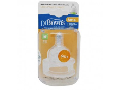 Dr. Brown's Tetina Boca Ancha Silicona +6m 2 uds.