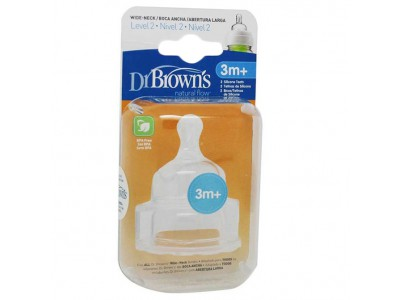 Dr. Brown's Tetina Boca Ancha Silicona +3m 2 uds.