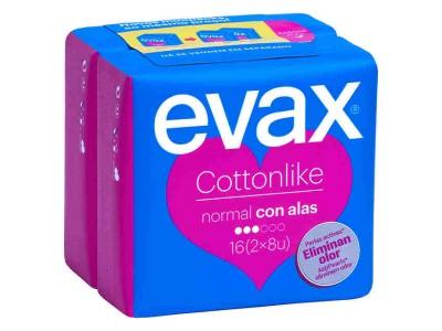 Evax Compresa Cottonlike Normal con Alas 16 uds.