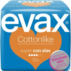 Evax Compresa Cotton Like Super con Alas 12 uds.