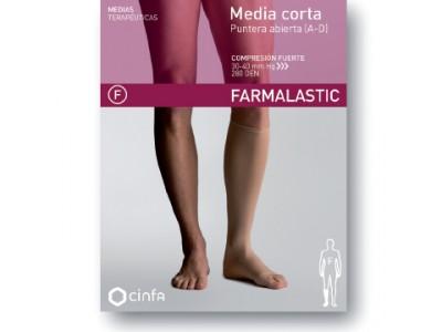 Farmalastic Media Corta Compresión Fuerte Puntera Abierta Talla Grande