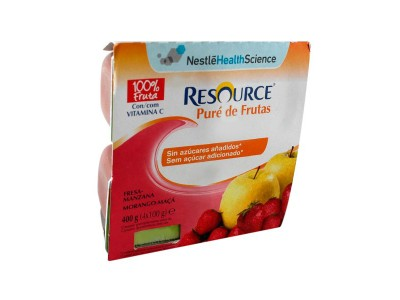Resource Pure de Fruta Fresa y Manzana 4x100g