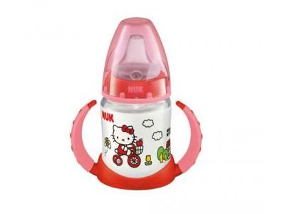 Biberón Asas Nuk Fc Hello Kitty Entrena 150ml Mod. A Rojo