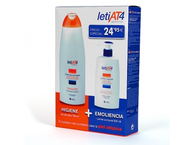 Leti At4 Pack Gel Baño DermoGraso 750ml + Leche Corporal