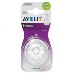 Avent Tetina Natural + 1mFlujo Lento 2 uds.