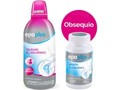 Epaplus Colágeno Líquido Frambuesa 1 L + Regalo Epaplus Magnesio y Ácido Hialurónico 28 Comprimidos