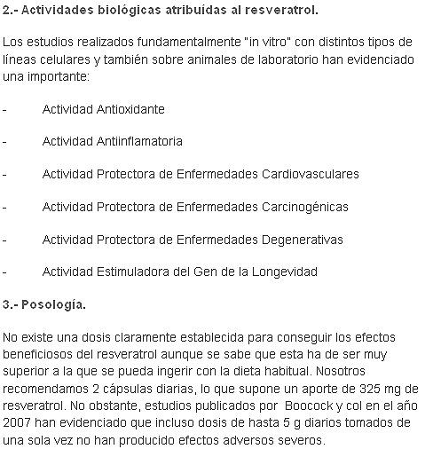 actividades y posologia resveratrol