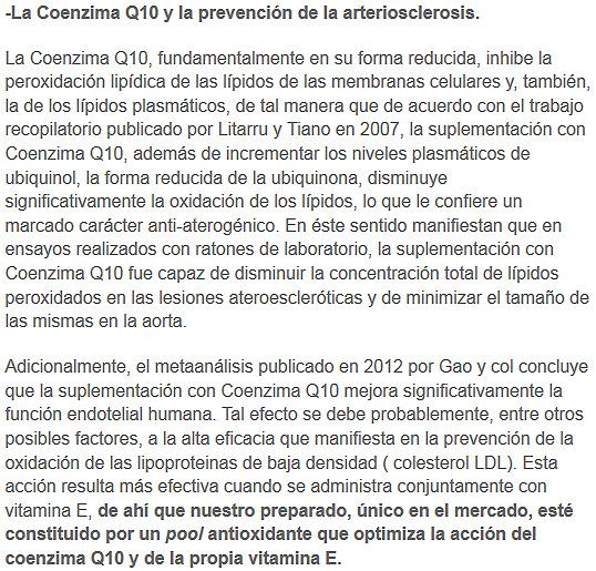 coenzima q10 y areterioesclerosis