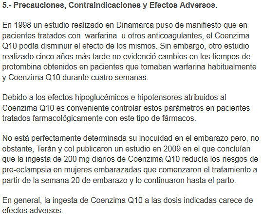 precauciones efectos adversos coenzima q10